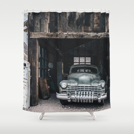 Old vintage car truck abandoned in the desert Shower Curtain