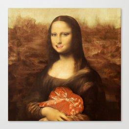 Mona Lisa Loves Valentine's Candy Canvas Print