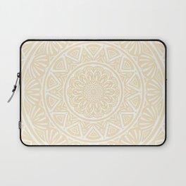 Pale Yellow Simple Simplistic Mandala Design Ethnic Tribal Pattern Laptop Sleeve