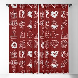 Red pattern of game items Blackout Curtain