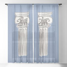 Greek ionic column Sheer Curtain