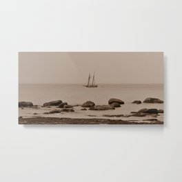 Tall ship out past the point sepia finish Metal Print