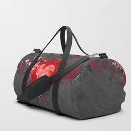 Abstract Love Letter red Grey Crumpled Paper Duffle Bag