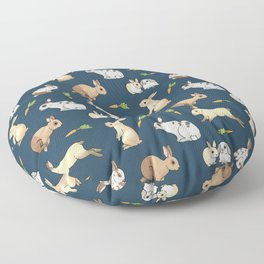 Rabbits on navy background Floor Pillow