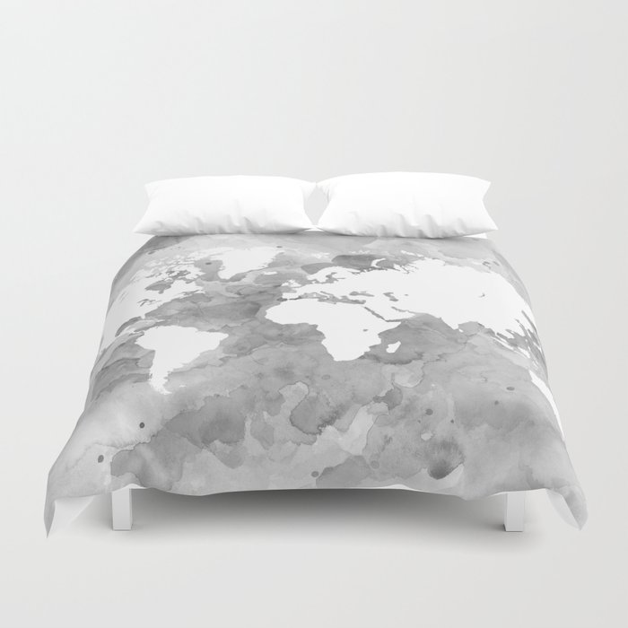 Design 49 Grayscale World Map Duvet Cover by artbylucie | Society6