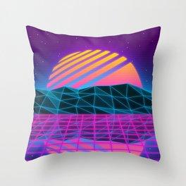 Vaporwave Sunset Throw Pillow