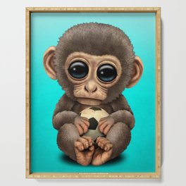 Cute Baby Monkey With Football Soccer Ball Serving Tray