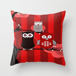 Red Owls Throw Pillow