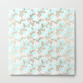 Modern faux gold teal white hand painted floral Metal Print