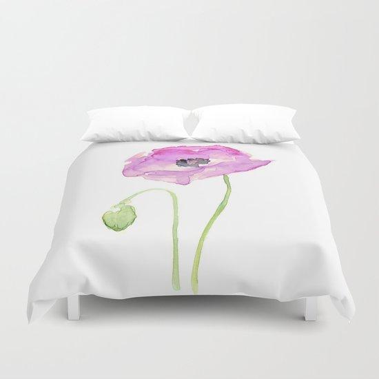 Flower Purple Poppy Floral Watercolor Duvet Cover