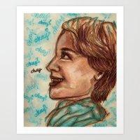 okay Art Prints featuring Okay? by Gillian Laura Illustration