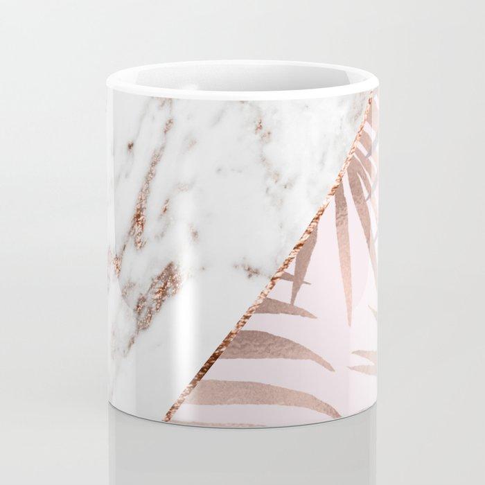 Rose gold marble & tropical ferns Coffee Mug