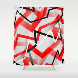 Mass Hysteria Abstract - Red, Black, Gray, White Shower Curtain