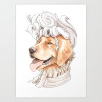 golden retriever Art Prints featuring Golden Retriever by Petty Portraits