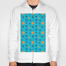 Blue and Orange dots on Blue Hoody