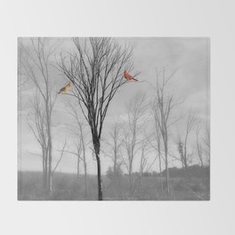 Red birds Cardinals Tree Fog A112 Throw Blanket