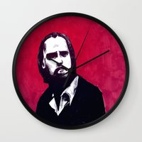 nick cave Wall Clocks featuring Nick Cave by James Courtney-Prior