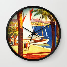 Vintage Bandol France Travel Poster Wall Clock