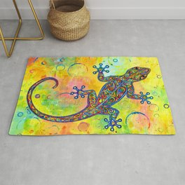 Electric Gecko Psychedelic Paisley Lizard Rug