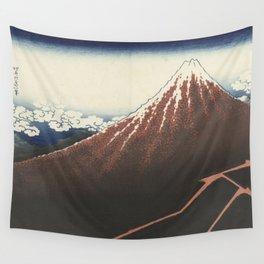 Rainstorm at the foot of the mountain - Katsushika Hokusai (1829-1833) Wall Tapestry