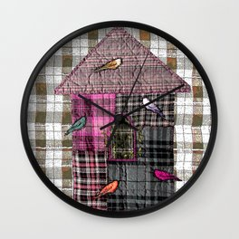 Birdhouse in pink Wall Clock