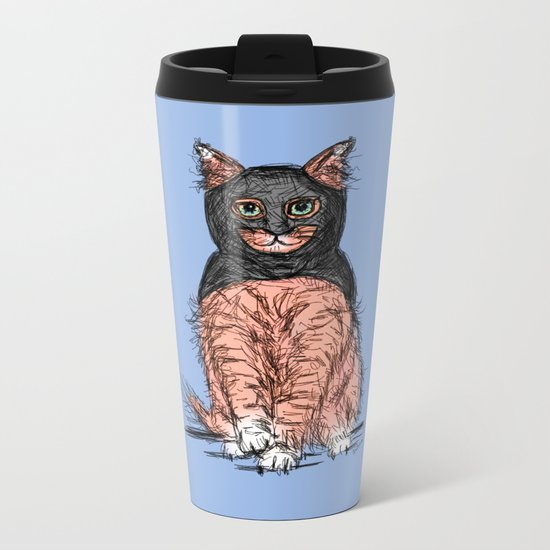 Periwinkle Pink Bat Cat Metal Travel Mug