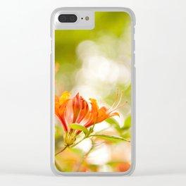 Azalea Glowing Embers orange flowers Clear iPhone Case