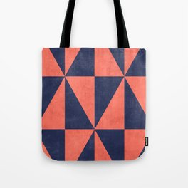 Geometric Triangle Pattern - Coral, Blue Tote Bag