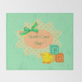 Peach, Green & Yellow Baby Blocks & Rubber Duck Throw Blanket