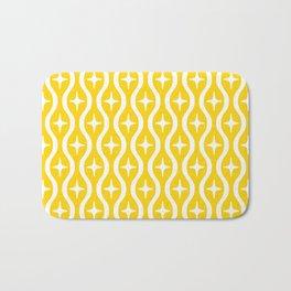 Mid century Modern Bulbous Star Pattern Yellow Bath Mat