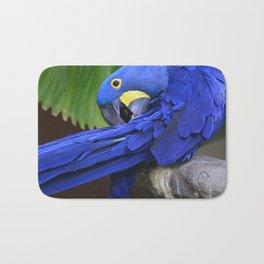 A Hyacinth Macaw Preening Its Feathers Bath Mat