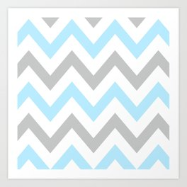 BLUE & GRAY CHEVRON Art Print