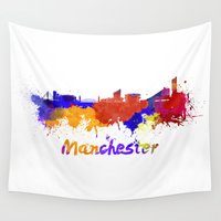 manchester Wall Tapestries featuring Manchester skyline in watercolor by Paulrommer