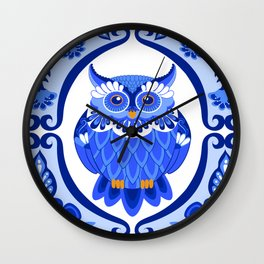 Delft Blue and White Owls and Flowers Wall Clock