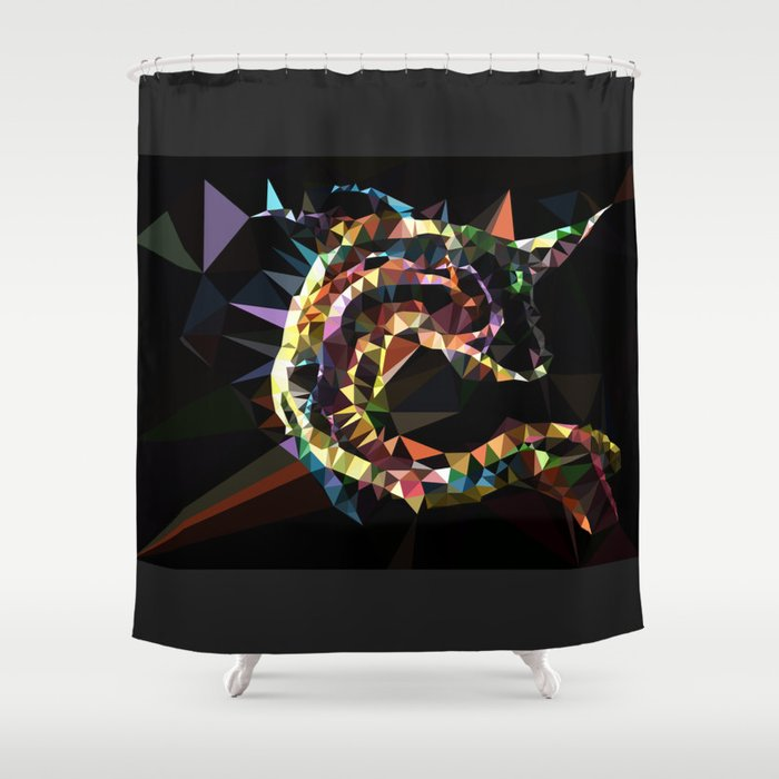 Unicorn fish low poly Shower Curtain
