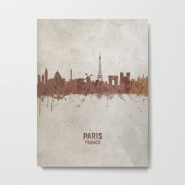 Paris France Rust Skyline Metal Print