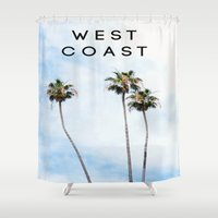 west coast Shower Curtains featuring West Coast Palms by ktyphoto