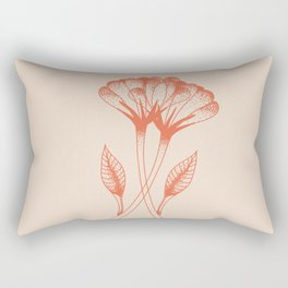 Flower duo in burnt orange inspired by tattoo style, boho chic illustration Rectangular Pillow