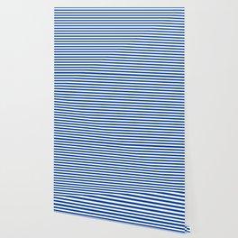 Geometric navy blue white nautical stripes pattern Wallpaper