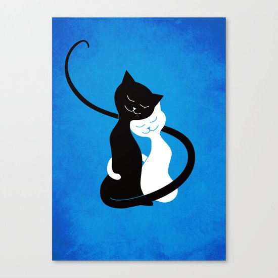White And Black Cats In Love Canvas Print