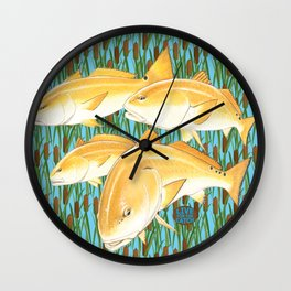 Live for the Catch- Red Fish Wall Clock