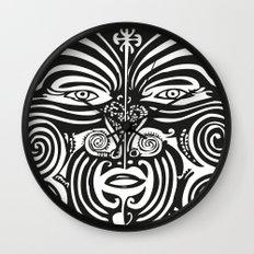 Maori Moko   Tribal Tattoo   New Zealand   Black and White Wall Clock