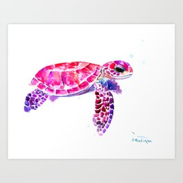 Purple Turtle Bright Pink, purple blue turtle illustration, children room decor Art Print