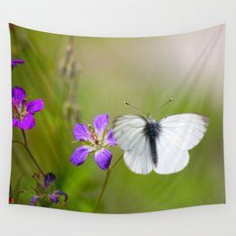 White Butterfly Natural Background Wall Tapestry