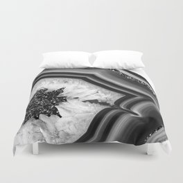 Gray Black White Agate with Black Silver Glitter #1 #gem #decor #art #society6 Duvet Cover