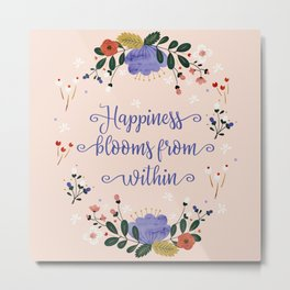 Happiness blooms from within- delicate pattern Metal Print