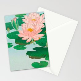 Ohara Koson Water Lilies 1920 Japanese Woodblock Print Vintage Historical Japanese Art Stationery Cards