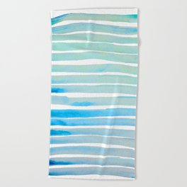 New Year Blue Water Lines Beach Towel