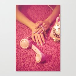 Hands with phone on pink carpet Canvas Print