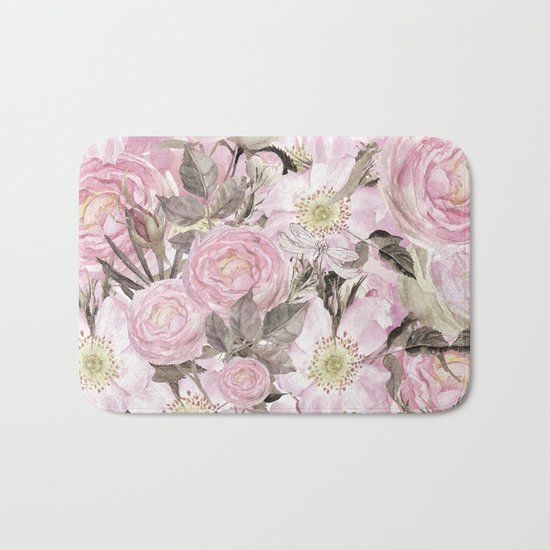 Floral Vintage painterly background in pink with Roses Flowers and insect Bath Mat
